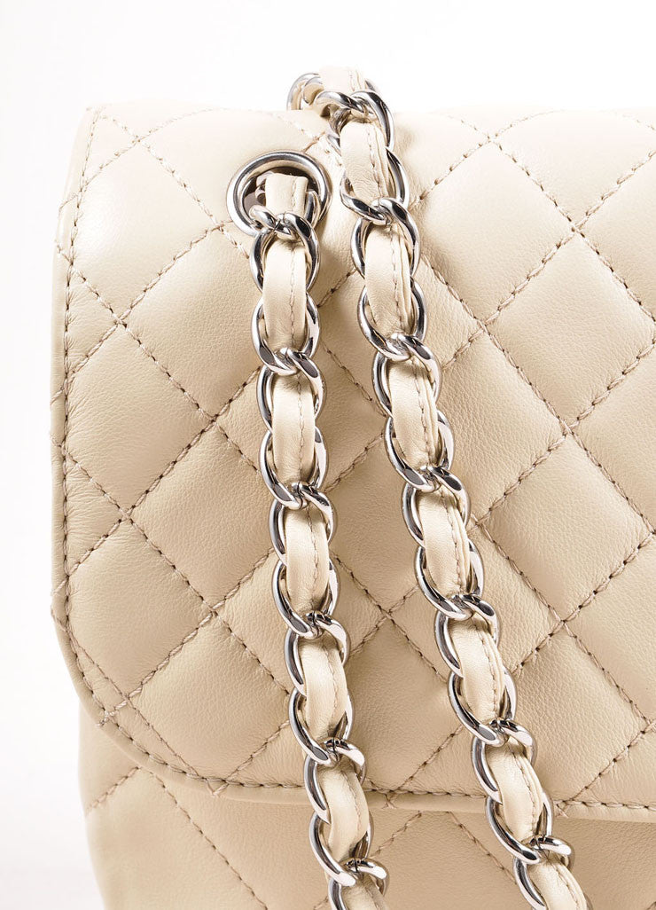 "Chanel Light Beige Calfskin Leather ""Quilted in the Business"" Flap Bag Detail 2"