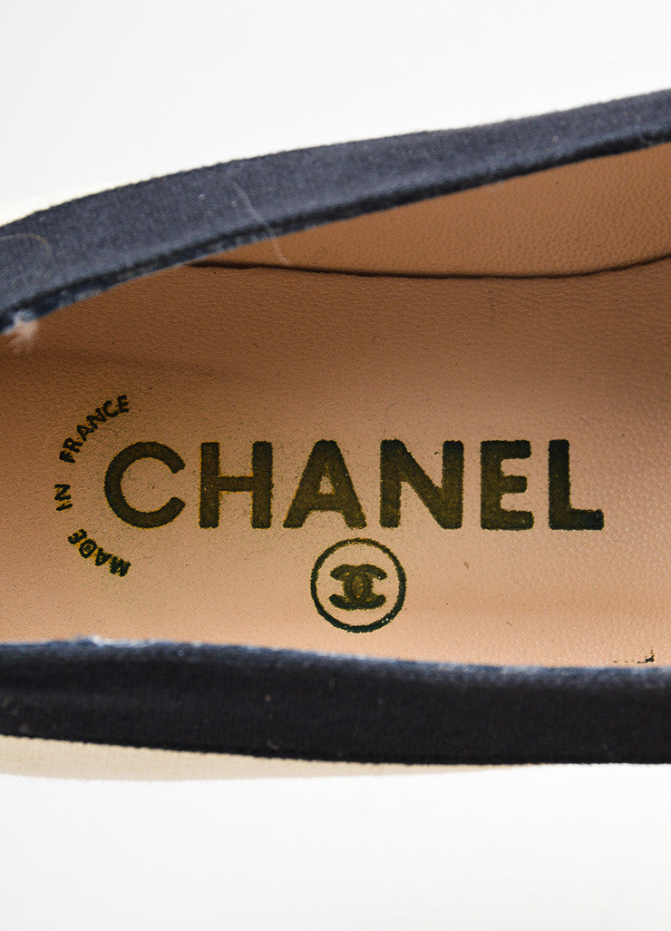 Cream and Black Chanel Canvas Cap Toe 'CC' Logo Espadrille Flats Brand