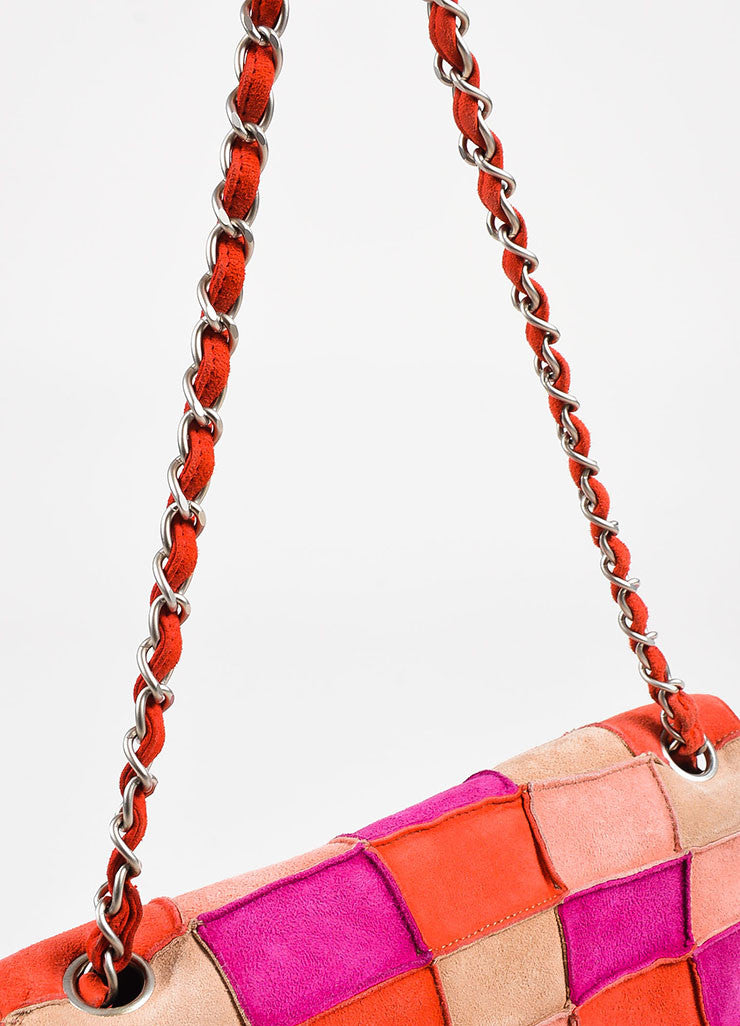 "Chanel Pink and Beige Suede Leather ""Mademoiselle Patchwork Reissue"" Flap Bag Detail 2"