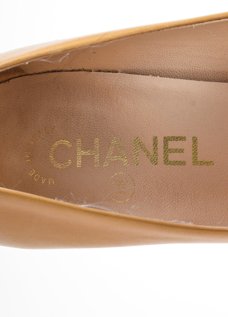 Tan and Black Chanel Leather Cap Toe Platform Pumps Brand