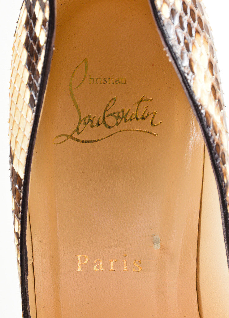 "Brown and Cream Christian Louboutin Snakeskin Leather ""Decollete"" Pumps Brand"
