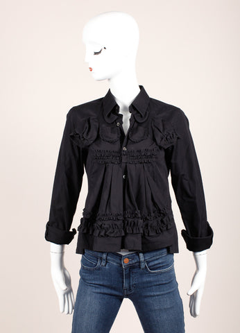 Comme des Garcons Black Ruffle Button Up Flare Silhouette Baby Doll Cotton Blouse Frontview