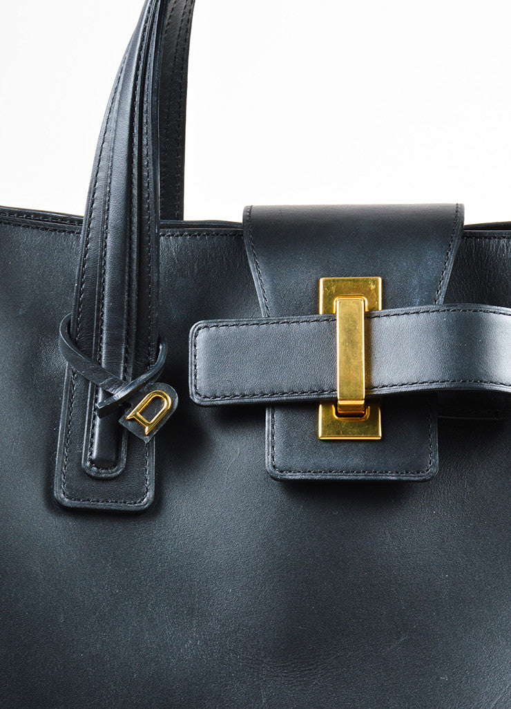 "Black Leather Delvaux  ""Simplissime"" Oversized Tote Bag Detail 2"
