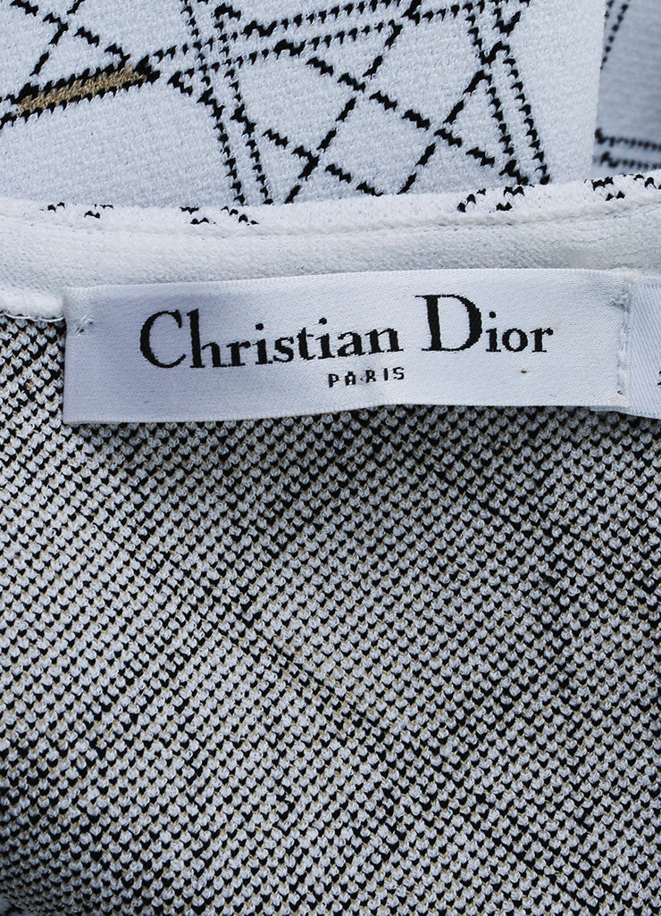 "White and Black Christian Dior Knit ""Cannage"" Print Sleeveless Dress Brand"