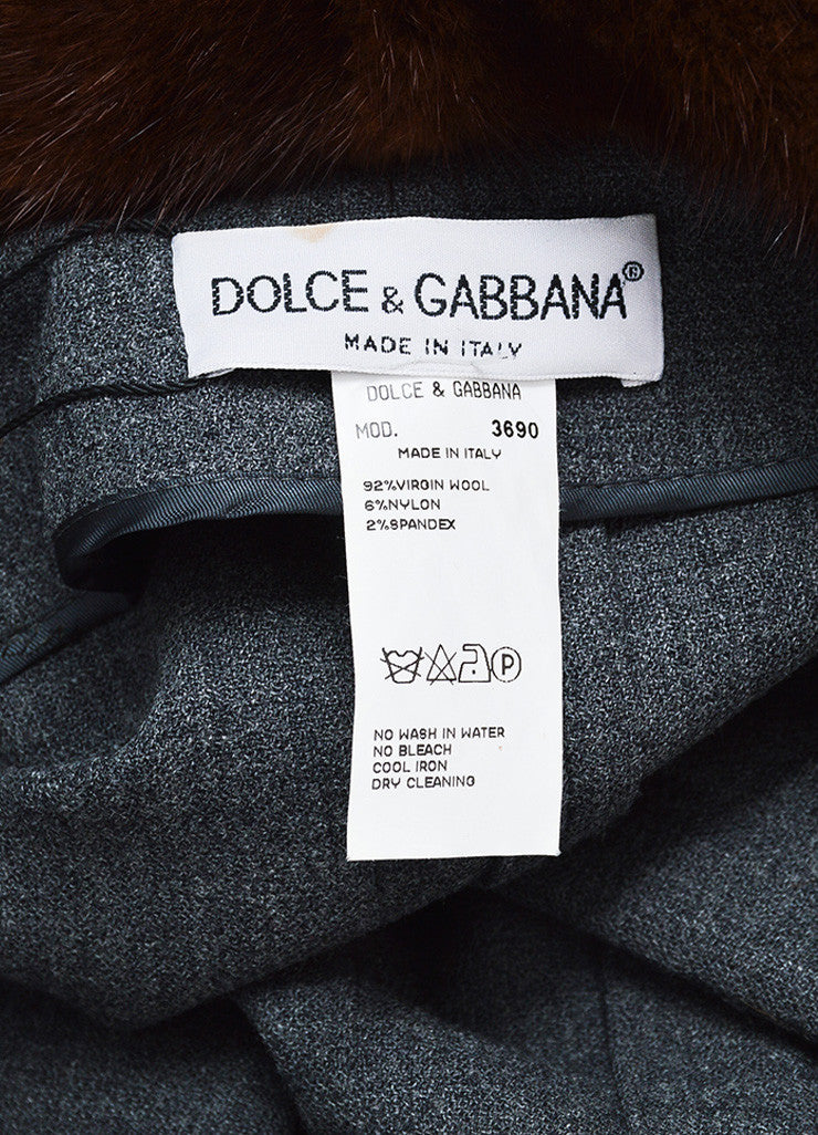 Dolce & Gabbana Grey and Brown Wool Blend Fur Collar Coat Brand