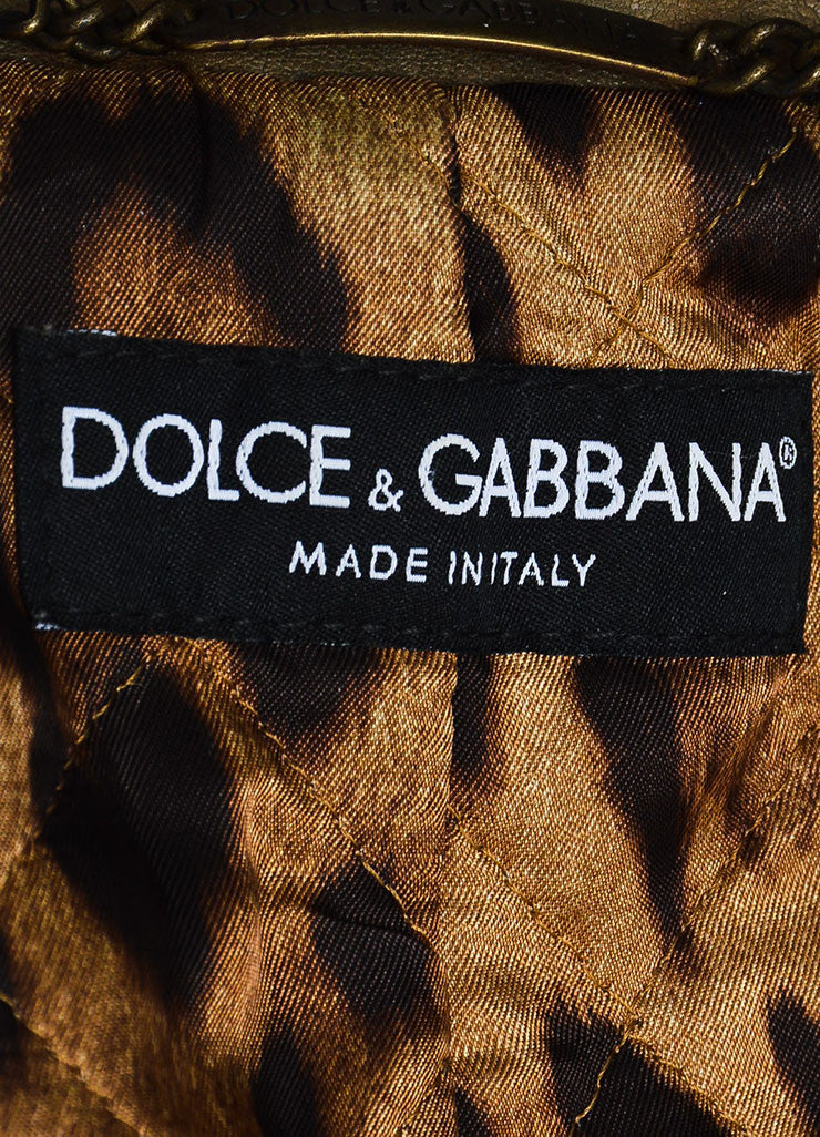 Dolce & Gabbana Taupe Brown Leather Military Double Breasted Jacket Brand