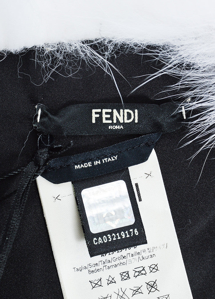"Fendi Black and White Fox Fur ""Fendi Roma"" Wrap Brand"