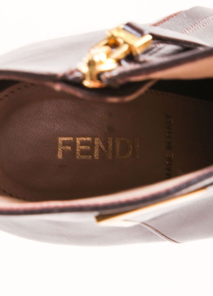 Fendi Dark Brown Leather Hidden Platform Cap Toe Ankle Booties Brand