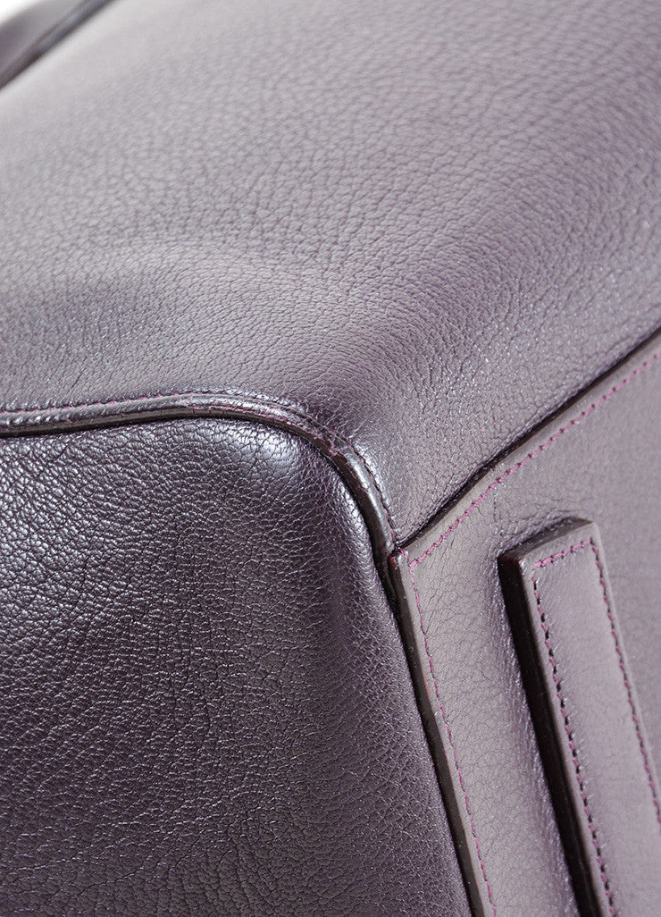"Givenchy Dark Purple Grained ""Sugar"" Goatskin Leather Medium ""Antigona"" Handbag Detail"