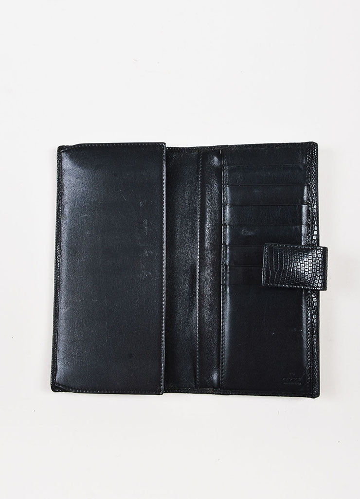 Gucci Black Lizard Textured Flap Bi Fold Wallet
