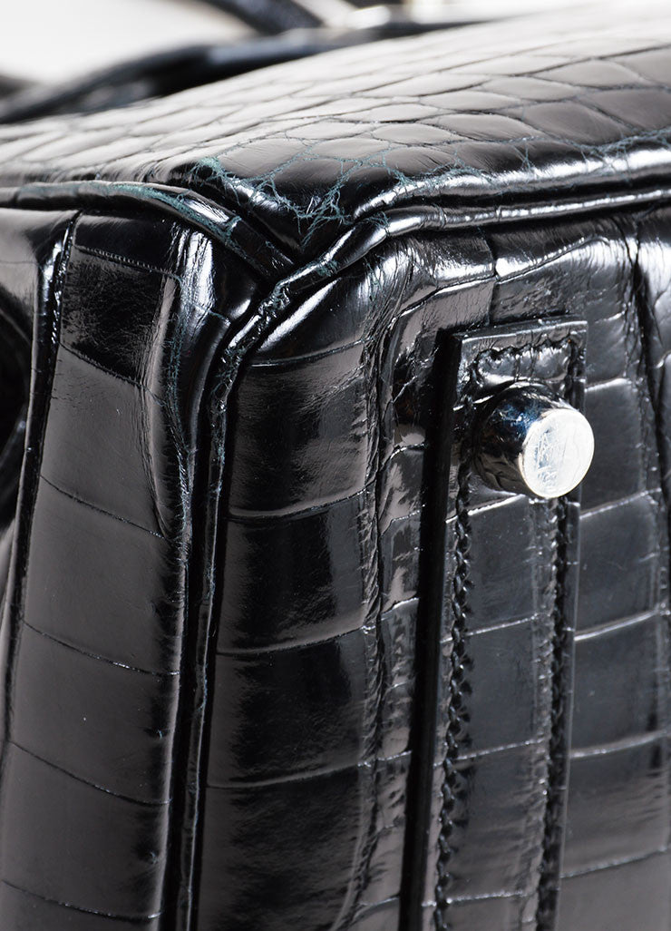 "Hermes Rare Black SHW Shiny Nilo Crocodile Leather 30 cm ""Birkin"" Bag Detail 2"