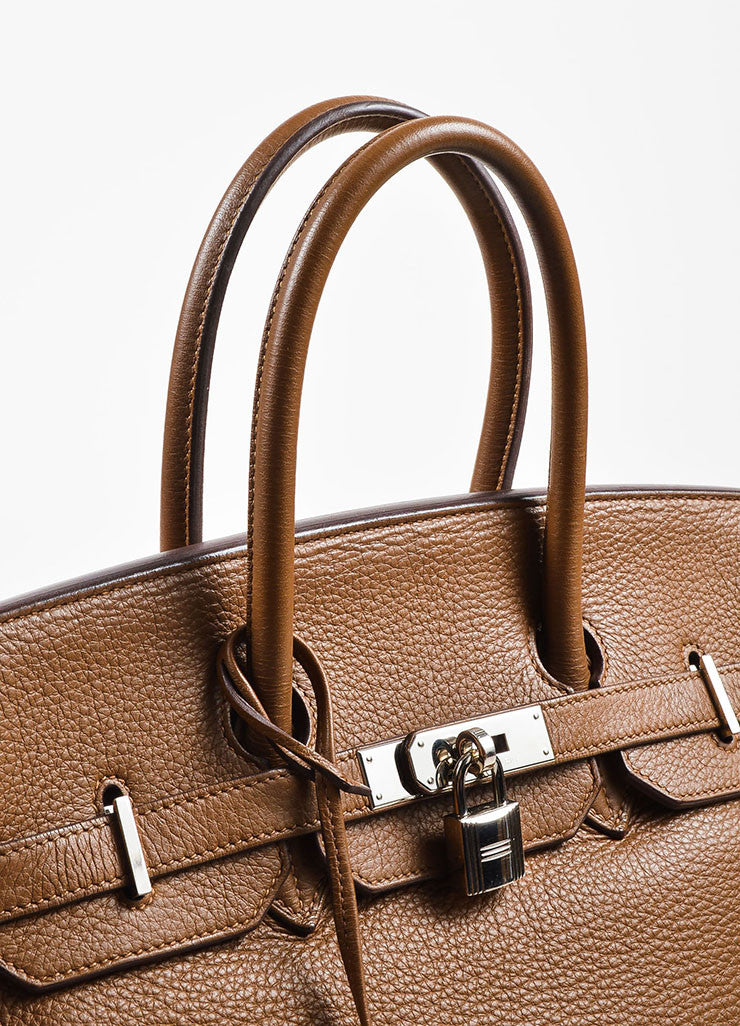 "Hermes ""Alezan"" Brown Clemence Leather Silver Toned Hardware 35 cm ""Birkin"" Bag Detail 2"