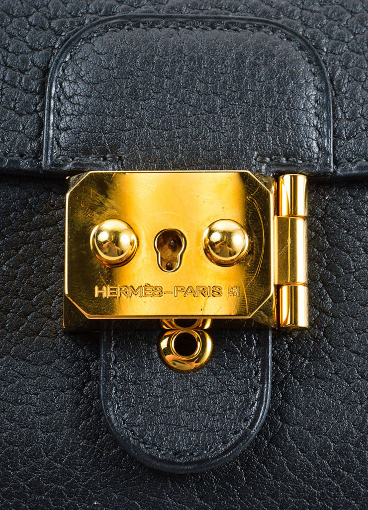 "Hermes Black and Gold Toned ""Clemence"" Leather ""Jet"" Clutch Bag Detail 3"