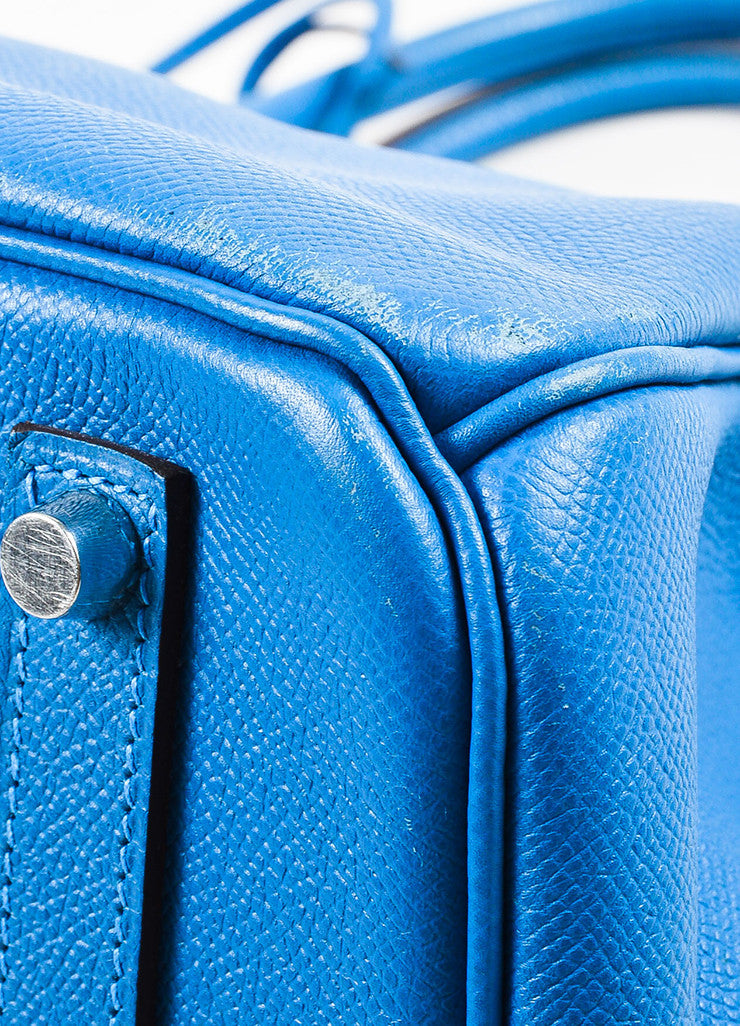 "Hermes Bleu de Galice Epsom Leather Palladium Hardware ""Birkin"" Bag Detail 3"