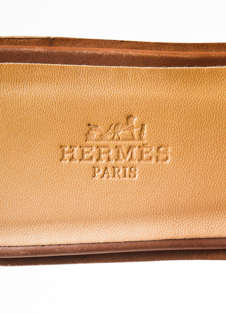 "Brown Hermes Leather ""Oran"" Logo Slide Sandals Brand"