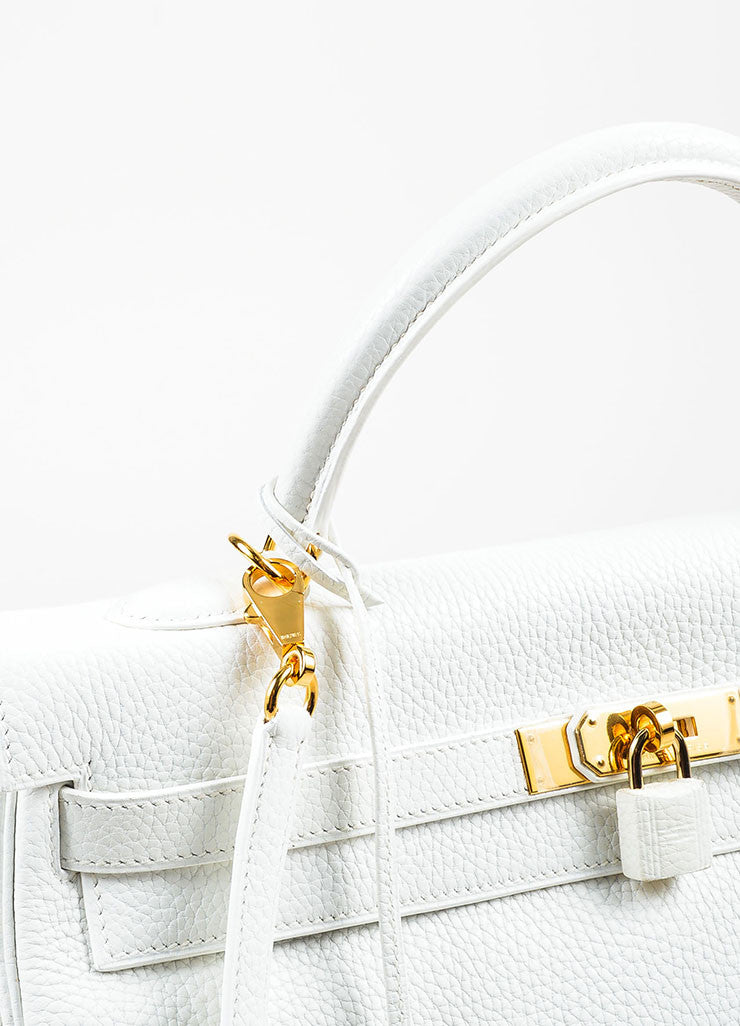 "Hermes Blanc White Clemence Leather Gold Toned Hardware ""Kelly"" 35cm Bag Detail 2"