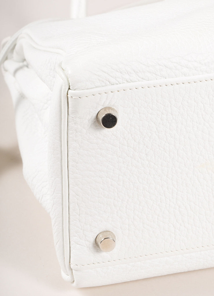 "Hermes New Without Tags White and Silver Toned Togo Leather 32cm Two Way ""Kelly"" Bag Detail"