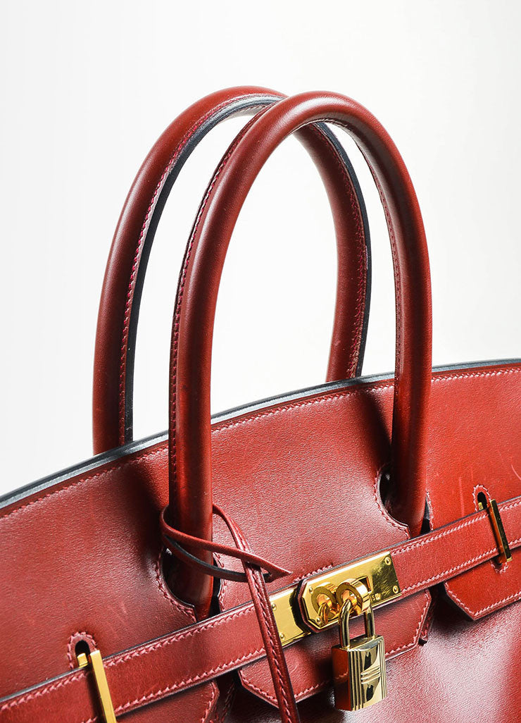 "Hermes Oxblood Red Box Calf Leather 35cm ""Birkin"" Handbag Detail 2"