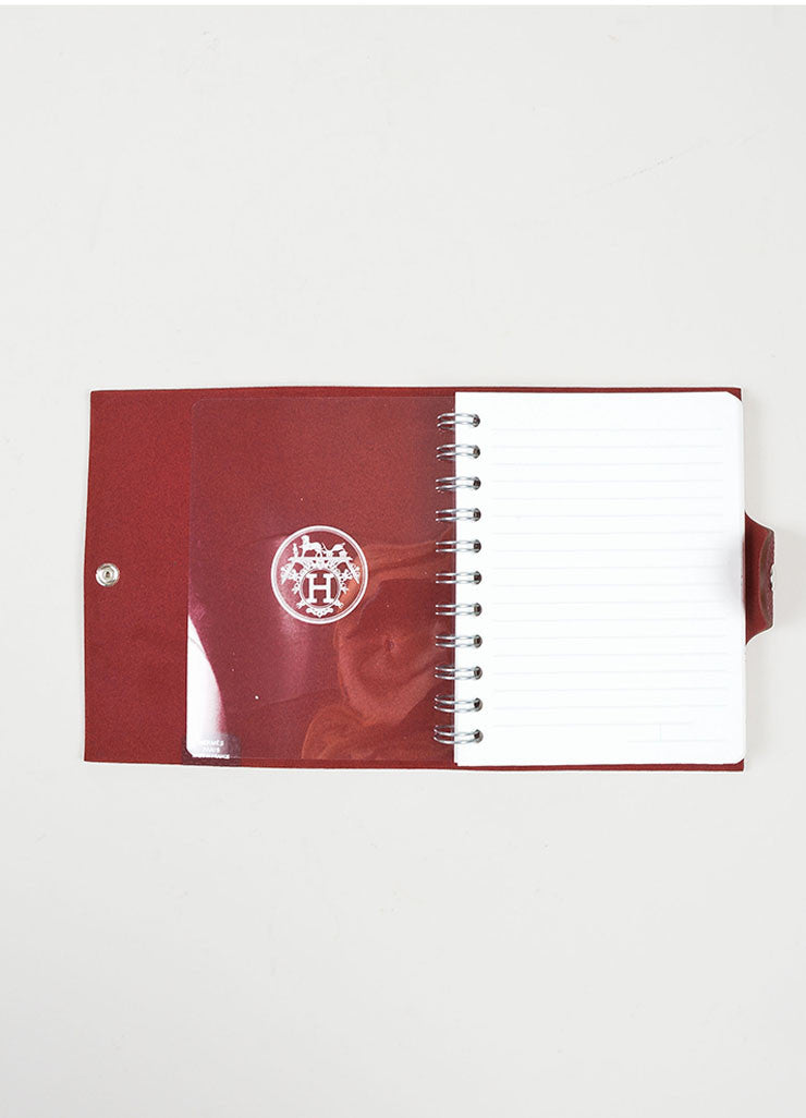 "Red Pebbled Leather Hermes ""Ulysse PM"" Agenda Notebook Cover with Paper Refill Interior"