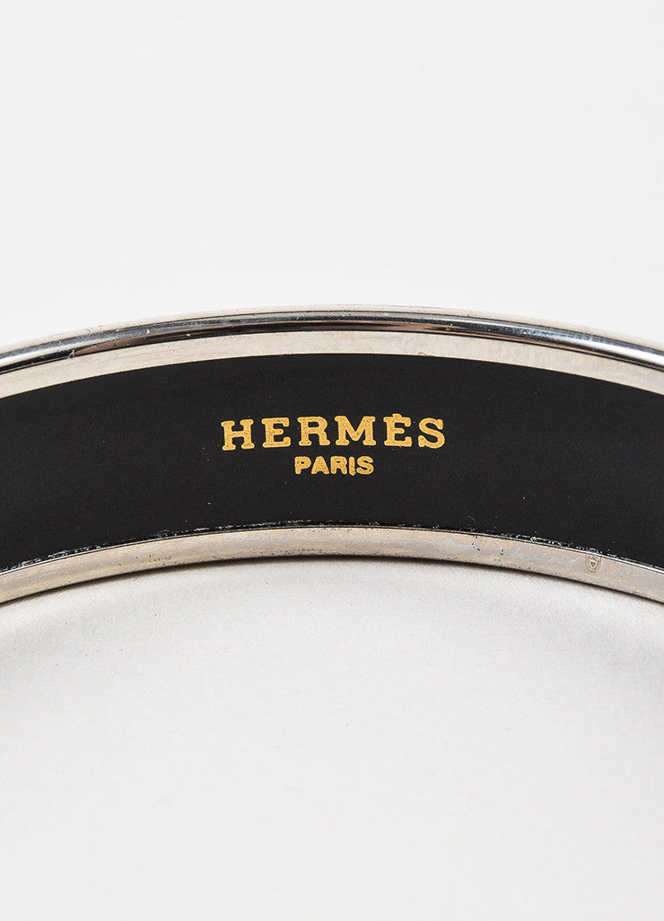 "Hermes Silver Toned and Purple Enamel ""Caleche"" Narrow Bangle Bracelet Brand"