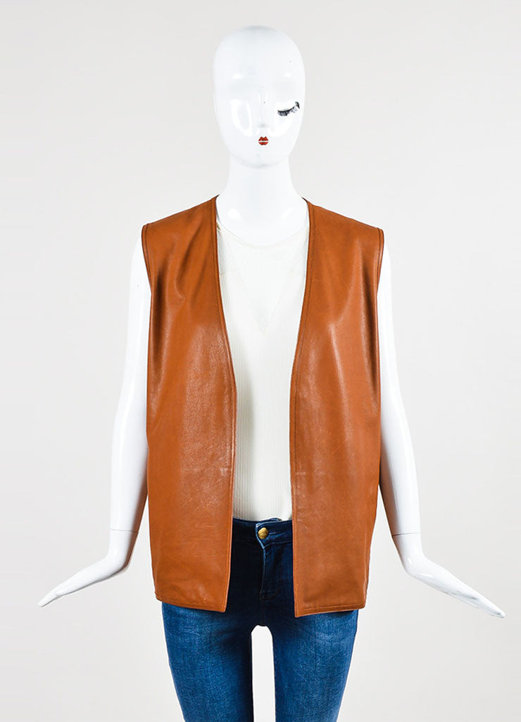Hermes Tan and Beige Leather Knit Back Vest  Frontview