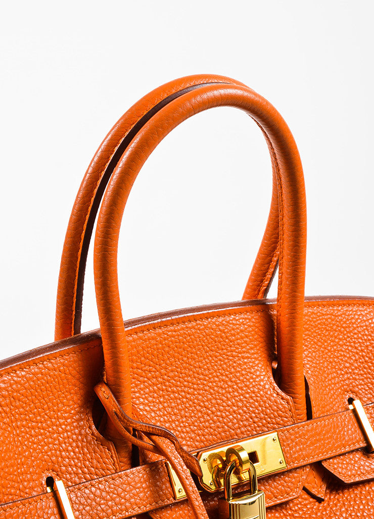 "Hermes Tangerine Orange Clemence Grain Leather Top Handle ""Birkin 30"" Tote Bag Detail 2"
