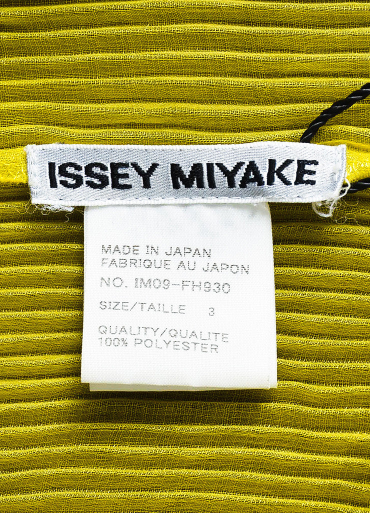 Issey Miyake Olive Green Stretch Pleated Color Block Long Duster Jacket Brand