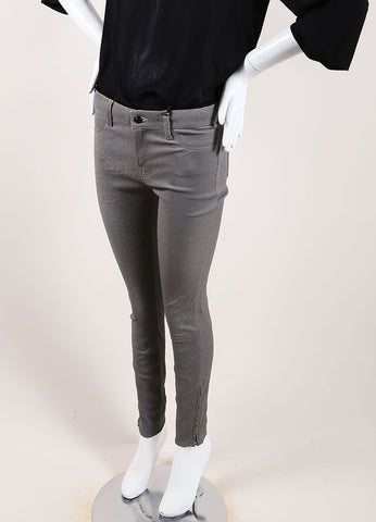 "J Brand Grey ""Rock"" Super Skinny Distressed Leather Pants Sideview"