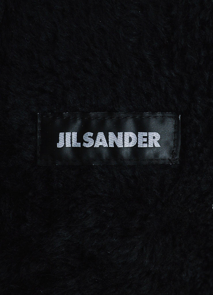 ‰ۢÌöÌÛJil Sander Black Coated Leather Shearling Lined Coat Brand
