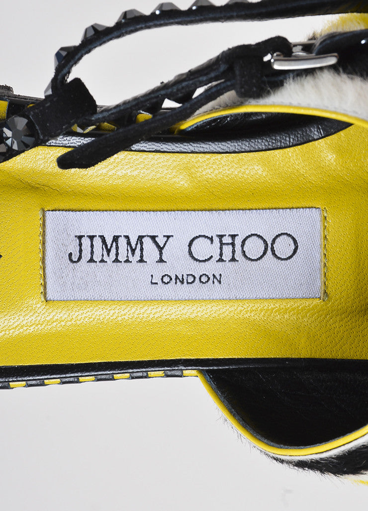 Black and Yellow Jimmy Choo Pony Hair Striped Studded Flat Sandals Brand