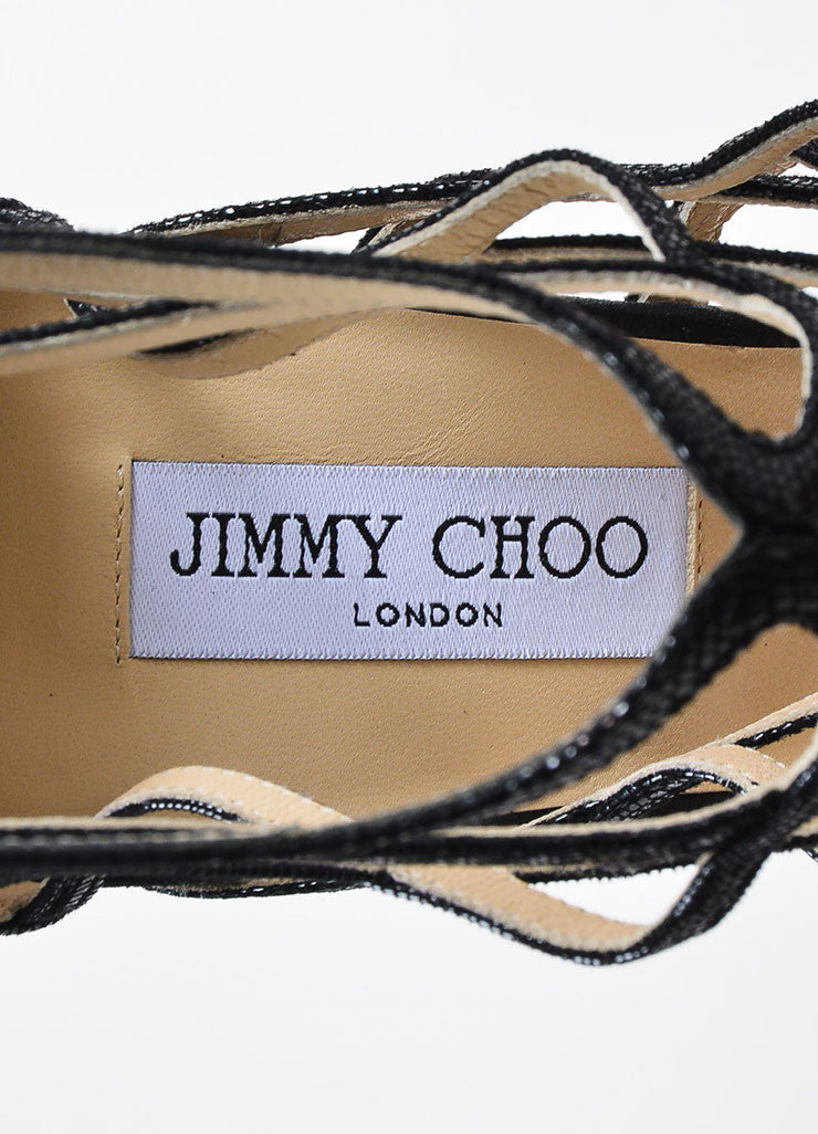 "Jimmy Choo Black Embossed Leather ""Fiesta"" Caged Heeled Sandals Brand"