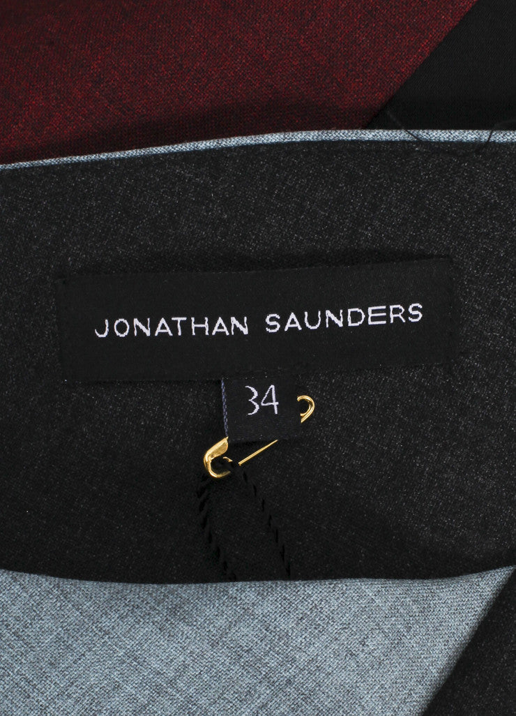 "Jonathan Saunders New With Tags Blue, Grey, and Multicolor Paneled ""Poppy"" Dress Brand"