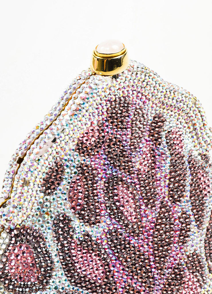 Judith Leiber Pink, Purple, and Clear Crystal Leopard Print Clutch Frame Evening Bag Detail 2