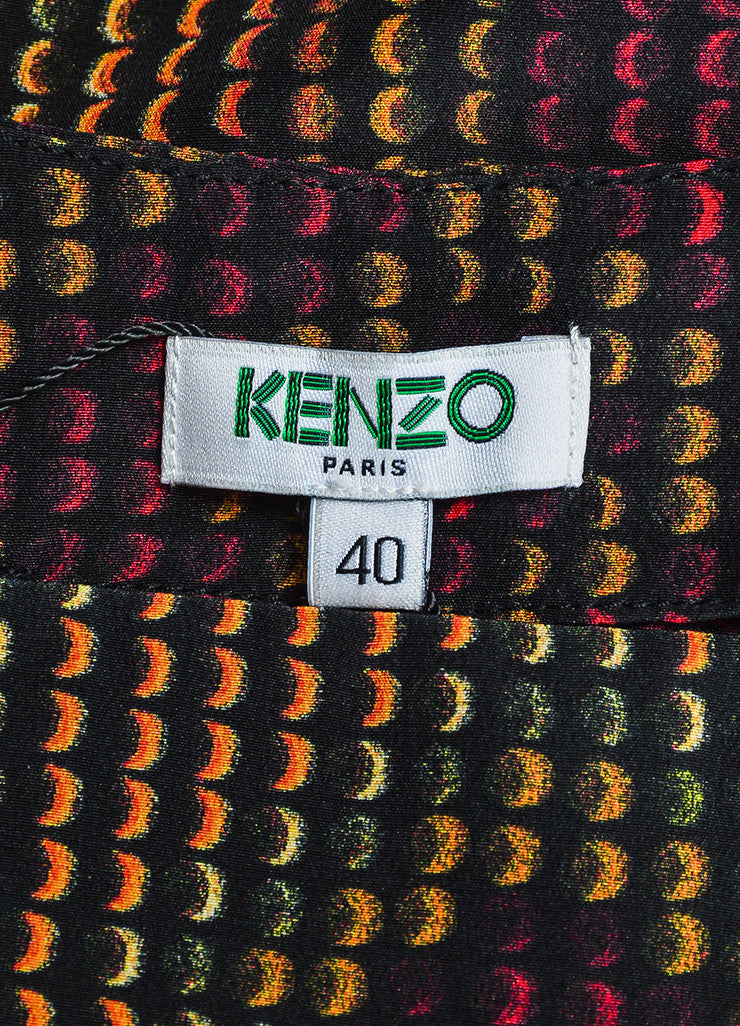 Black and Multicolor Kenzo Silk Rune Print Flare Skirt