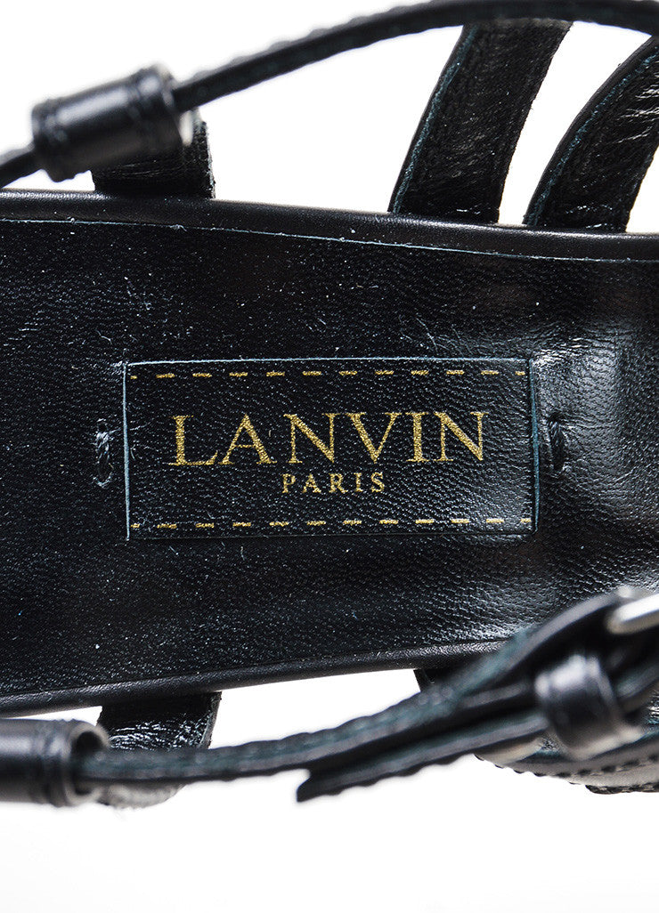 Lanvin Black Leather Strappy Buckle Stacked Heel Sandals Brand