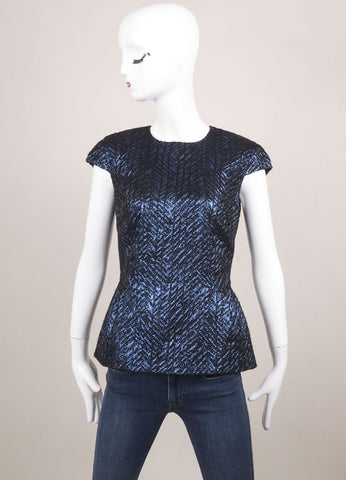 Les Copains New With Tags Blue and Black Wool Blend Metallic Peplum Cap Sleeve Top Frontview