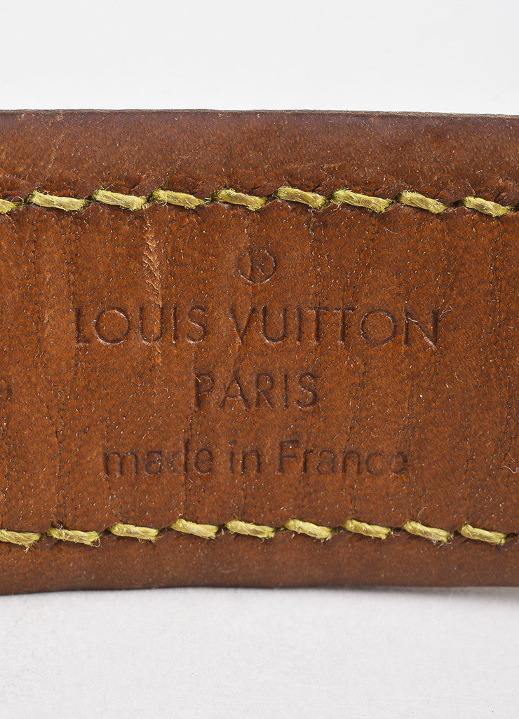 "Louis Vuitton Brown Leather Trim Monogram ""Baxter Dog Collar GM"" Brand"
