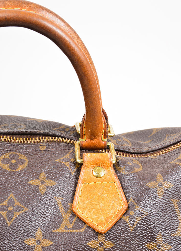 "Brown Louis Vuitton Monogram Canvas ""Speedy 30"" Handbag Detail 2"