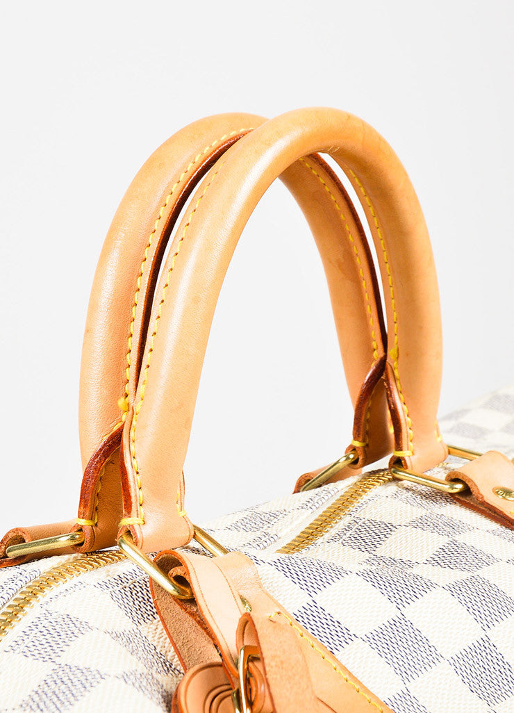 "Louis Vuitton Cream Navy Damier Canvas ""Keepall Bandouliere 55"" Bag Detail 3"