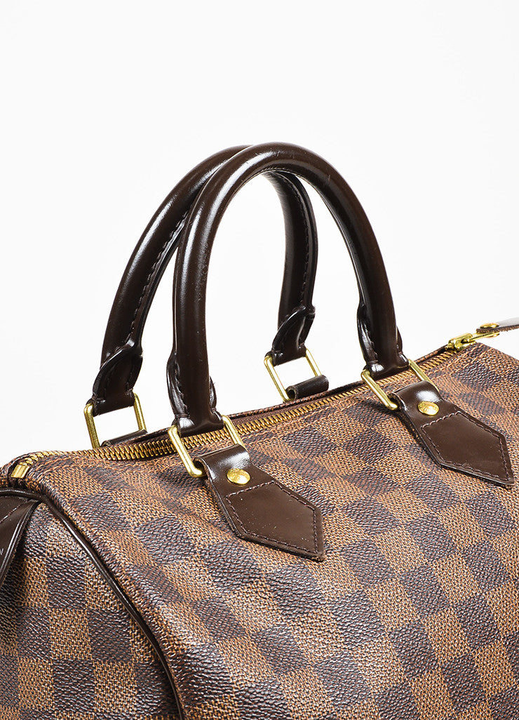 "Louis Vuitton Damier Ebene Brown Coated Canvas Leather Checkered ""Speedy 25"" Bag Detail 2"