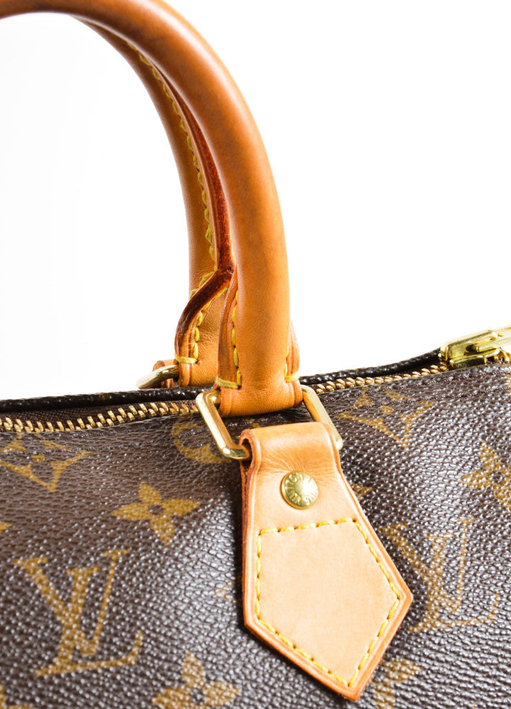 "Louis Vuitton Brown Monogram Canvas 25cm ""Speedy"" Bag Detail 2"