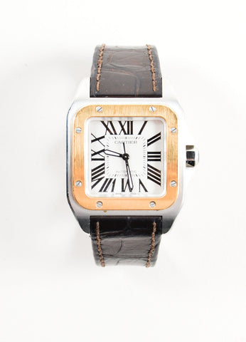"Cartier 18K Gold and Stainless Steel ""Santos 100 XL"" Automatic Watch Frontview"