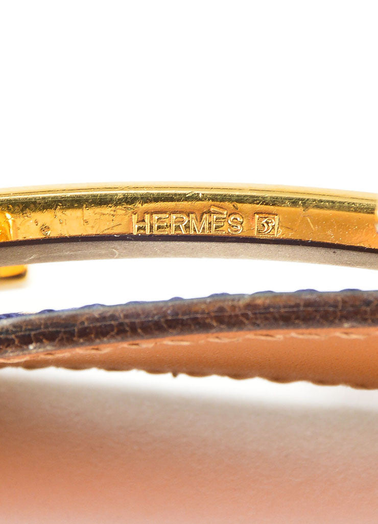 "Men's Gold Toned 'H' Prong Buckle and Blue Alligator Hermes ""Constance"" Belt Brand 2"