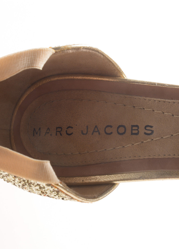 Marc Jacobs Metallic Gold Glitter Mary Jane Pumps Brand
