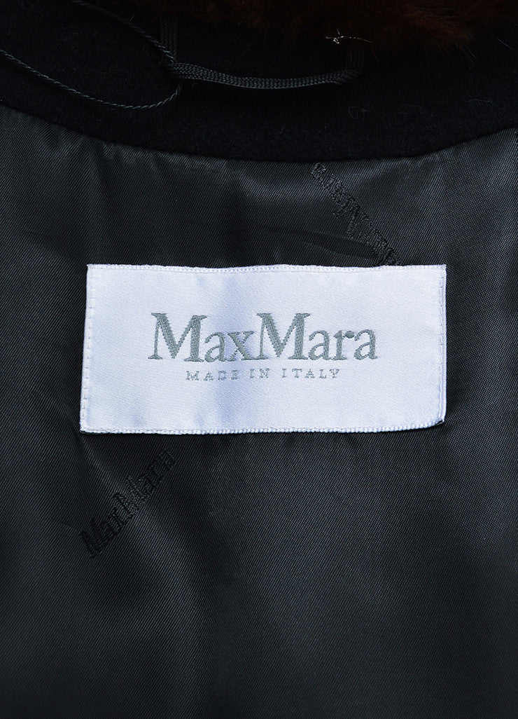 Black and Brown Max Mara Wool and Cashmere Mink Trim Long Coat Brand