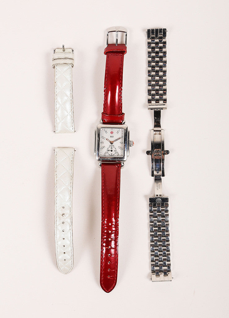 Michele Deco Silver Tone Red Cream Stainless Steel Diamond Interchangeable Watch Bands