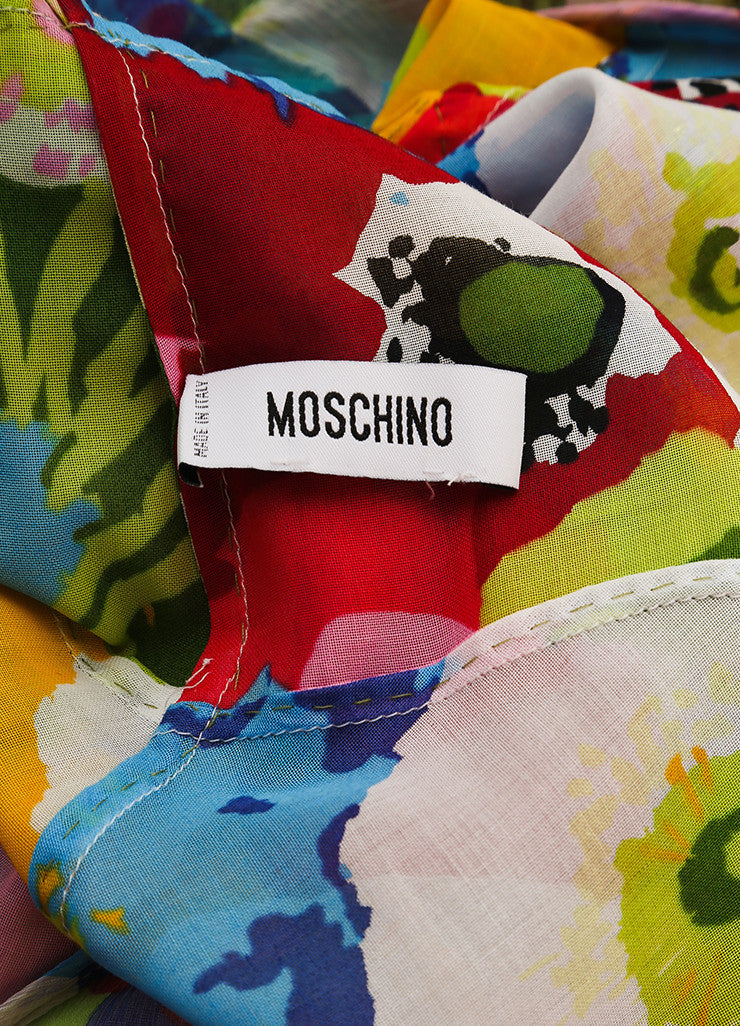 Moschino Multicolor Tropical Floral Print Sleeveless Gown Brand