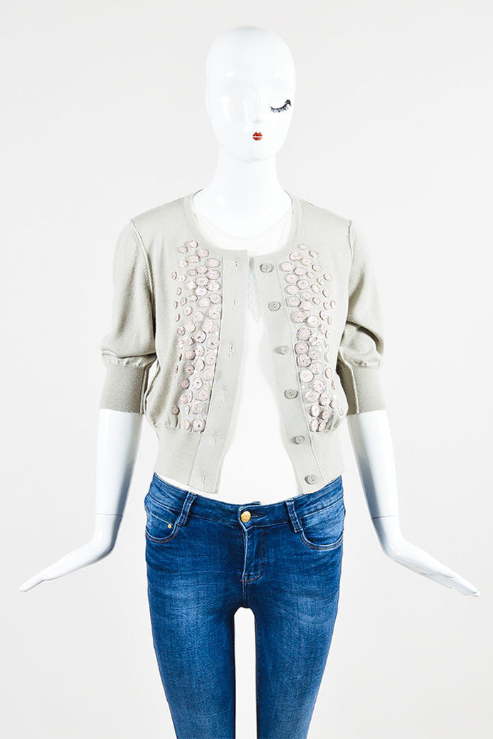 Oscar de la Renta Taupe and Pale Pink Cashmere Silk Embellished Short Sleeve Cropped Cardigan Frontview