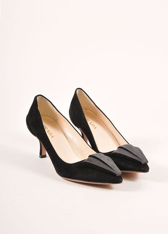 Prada Black and Grey Triangle Applique Pointed Toe Suede Leather Pumps Frontview