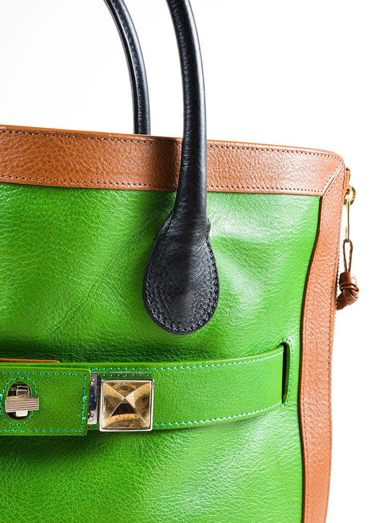 "Proenza Schouler Kelly Green, Brown, and Black Leather ""PS11"" Tote Bag Detail 2"